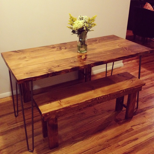 Mid-Century modern hairpin leg table and benches